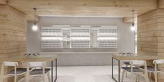 Optical shop design   Der Laden besticht durch seinen mit Holz verkleideten Unterzug / Stützen und die offene und lockere Präsentationsart. Durch die Holzverkleidung bekommt der Laden eine optische Wärme das ein Wohlfühleffekt bei dem Kunden auslösen soll.