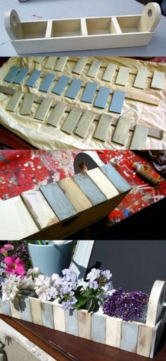 DIY Projects Made With Paint Sticks - Pottery Barn Inspired Paint Stick Flower Shelf - Best Creative Crafts, Easy DYI Projects You Can Make With Paint Sticks From The Hardware Store - Cool Paint Stick Crafts and Furniture Project Tutorials Diy Home Crafts, Creative Crafts, Wood Crafts, Diy Home Decor, Home And Family Crafts, Paint Stir Sticks, Painted Sticks, Paint Stick Crafts, Christmas Presents For Friends