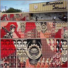 byShepard Fairey, Miami, 2008 Exterior mural; 12 x 100 feet