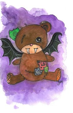 vampire Teddy Bear art print    $12.00