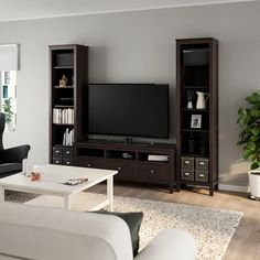 HEMNES TV storage combination, black-brown, 96 Sustainable beauty from sustainably-sourced solid pine, a natural and renewable material that gets more beautiful with each passing year. Combine with other products in the HEMNES series. Hemnes Tv Bank, Hemnes Bookcase, Tv Storage Unit, Lp Storage, Record Storage, Kitchen Ikea, Large Drawers, Black And Brown, Solid Pine