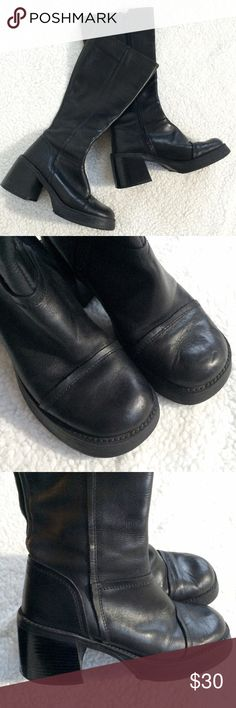Vintage Aldo Black Boots Size 8 Pre-owned good condition leather boots.  Scuffed soles and well worn but have tons of life still in them and need a good home! Aldo Shoes