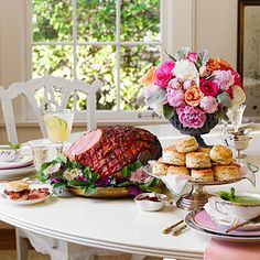 Easter Brunch Menu with recipes from Southern Living (cornmeal chive biscuits! ham with pepper jelly and ginger glaze!)
