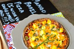 Mango basil pizza! Amazing, one of my favourite recipes! 303 kcal. Portion sizes on week 14 meal plan.