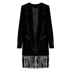 Blazé Milano Midnight Smoking Etoile velvet jacket ($1,625) ❤ liked on Polyvore featuring outerwear, jackets, black, herringbone jacket, tailored jacket, shawl jacket, fringe shawl and velvet shawl