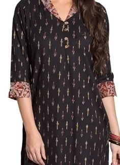 Black Blended Cotton Kurti