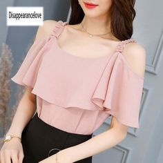 Spring summer 2018 new korean version women fashion sexy casual short-sleeved white chiffon shirt cheap wholesaleDisappearancelove SALE Summer women Blouse Off Shoulder tops vintage woman shirts Pink short clothes blouse female blusa. Indian Blouse Designs, Tops Vintage, Sexy Shirts, Chiffon Shirt, Lace Chiffon, White Chiffon, Print Chiffon, Blouse Outfit, Blouse Styles