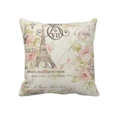Vintage Floral Paris Eiffel tower decor pillow