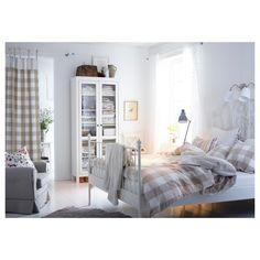 Ikea Leirvik bed frame- I have this bed frame! It's so pretty! Ikea Leirvik, Ikea Bedroom, Bedroom Decor, White Bedroom, Calm Bedroom, Ikea Duvet, Bedroom Ideas, Pretty Bedroom, Master Bedroom