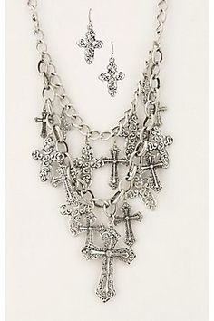 Silver Chain w/ Multiple Cross Charms.