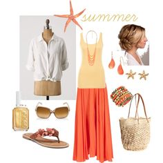 Coral for summer (island fever, created by kristen-344)