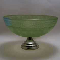 Chance green glass WAVERLEY dessert bowl on chrome stand Art Deco Glass, Dessert Bowls, Glass Paperweights, Open Source, Murano Glass, Candlesticks, Birmingham, Serving Bowls, Scandinavian