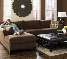 modern brown 2 piece lazy boy sectional with chaise