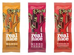 Real Nice Organic Ice Lollies (Mango, Mixed Berry, Banana & Raspberry flavours)  A Great Taste Award Winner last year, these dinky treats are made from whole fruit puree with nothing added - so no sugar and no water. The added bonus? Each lolly provides 90% of your 5-a-Day.  Calorie Count: 34 per lolly