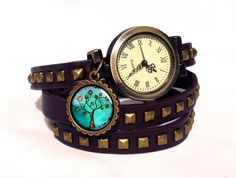 Leather watch bracelet -Tree of hope, 0605WDBC from EgginEgg by DaWanda.com