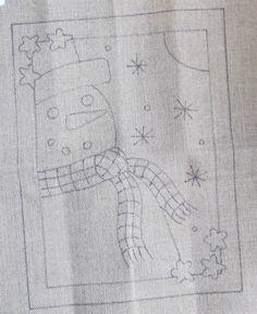 Primitive Hooked Rug Pattern Snowman