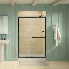 Gradient 47-5/8 in. x 70-1/16 in. Sliding Shower Door in Anodized Bronze with Handle