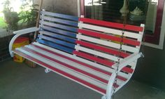 Repainted the old porch swing for our patriot home. Stars were added later.
