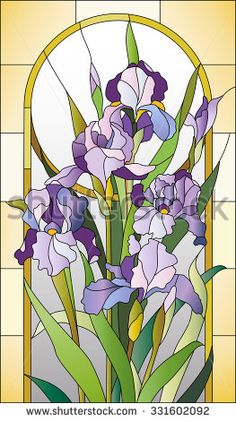 Stained glass pattern  with irises