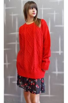 Red chunky knit Sweater Fashion Online, Doll, Street Style, Pullover, Knitting, Sweaters, Red, Urban Style, Tricot