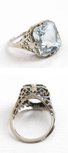 Filigree Aquamarine Ring