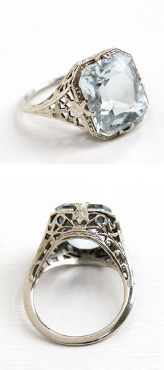 Filigree Aquamarine Ring