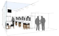 Sketchy | monochrome | High bar tables & wall panelling | SketchUp illustration