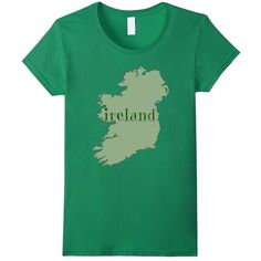 Ireland T-shirt with Map of Ireland in Irish Green: Clothing ($19) found on Polyvore