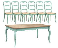 French Country Dining, Turquoise French Dining Table Set (1 Table 6 Chairs)