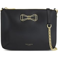 TED BAKER Gretaa patent leather cross-body (2,330 MXN) ❤ liked on Polyvore featuring bags, handbags, shoulder bags, black, shoulder strap bags, cross body strap purse, crossbody handbag, patent leather purse and crossbody shoulder bags