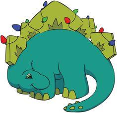 Children's style illustration, a holiday stegosaurus