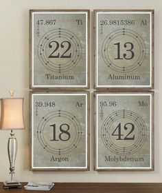 SET OF 4 Periodic Element Wall Art Prints. Choose your elements! Diy Wall Art, Wall Decor, Science Bedroom, Periodic Elements, Science Art, Inspired Homes, Room Inspiration, Wall Art Prints, Periodic Table