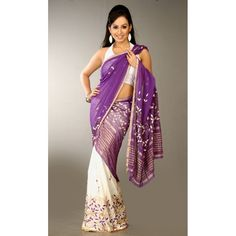 White and Purple Contrast Designer Mekhela Chadar by H2A2 Creations