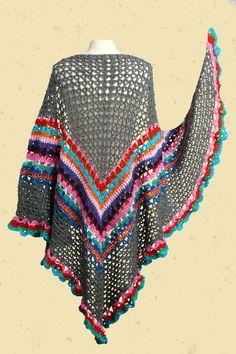 Gypsy Omslagdoek anthraciet met kleurige strepen