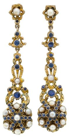 Pair of Antique Silver Gilt, Sapphire and Split Pearl Pendant-Earclips Ap. 9 dwts. Via Doyle New York.