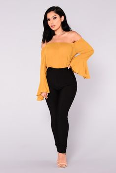 0e875e7341b4 Antoinette Bell Sleeve Top - Mustard Fashion Nova Tops, Jean Skirt Outfits,  Fashion Poses
