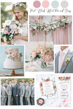 Exquisite color palette with soft and gentle pink and blush tones mixed with cool mint blue and gray hues. Mint Wedding Themes, Pastel Wedding Colors, Romantic Wedding Colors, Wedding Ideas, Blush Wedding Palette, Blush And Grey Wedding, Dusty Miller, Dusty Pink Weddings, Mint Blue