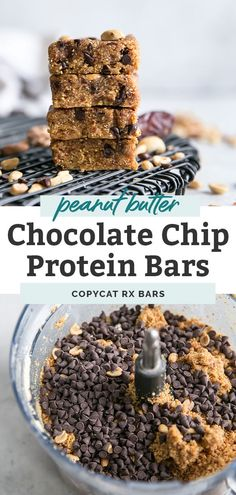Homemade protein bars like copycat RX bars that are paleo friendly and compliant. Three main ingredients, other mix-ins and a food processor are all you need! Easy Protein Bars, Protein Bar Recipes, Protein Snacks, Paleo Recipes, Healthy Snacks, Whole 30 Recipes, Whole Food Recipes, Dinner Recipes, Healty Dinner