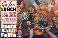 LUNCH IM DON LUCA!  Ab naechsten Montag oeffnet das Don Luca Mo ? Fr schon ab 11:30 Uhr.         Special Lunch Menu bis 15 Uhr mit Pasta Gerichten, Salaten und natuerlich  auch unseren mexikanischen Specials.    Fuer jeden was. Weiter sagen, teilen, und ab Montag ausprobieren!    Don Luca mexikanisches Restaurant   www.donluca.de #DonLuca #mexikanisch #Restaurant #Bar #Cocktailbar #Cantina #mexican #Mexicaner #Muenchen #Schwabing #Don #Luca #HappyHour #mexikanischesEssen