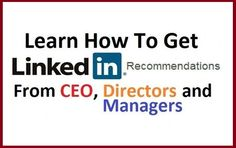 Learn How To Get LinkedIn Recommendations https://www.fiverr.com/zacky29/give-10-linkedin-recommendations