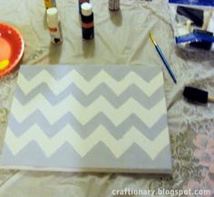 Chevron painted canvas tutorial (silhouette project) - Craftionary