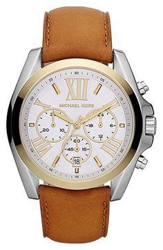 Michael Kors 'Bradshaw' Leather Strap Watch   Nordstrom