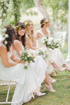 Lovely bridesmaids. More people need to do flower head pieces!