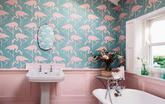 Bathrooms don't have to be expensive to look beautiful.  Sometimes just a new mirror, a lick of paint or a striking wallpaper can make all the difference.  As a bathroom is less used than the kitchen and living spaces (and the rest of the home), dare to go a little wilder – these fresh and cheerful bathroom design ideas are sure to brighten up any day.