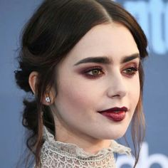Lily Collins at 2016 Critics' Choice Awards. Adore her make-up and hair.