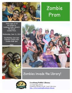 Teens ages 13-19 are invited to attend the 4th Annual Zombie Prom at the Leesburg Public Library on Wednesday, June 11th, 2014.. Free Zombie face painting, Zombie Walk, Costume Contest, & Zombie Prom Photo Booth!