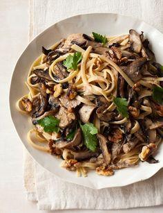 Creamy Triple Mushroom Fettucini with Walnuts by AislingH