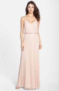 Adrianna Papell Evening Prom Pink Taupe Halter Beaded Blouson Gown NEW UK 12 US8