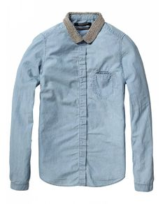 Clean fitted shirt - Light chambray - Shirts - Official Scotch & Soda Online Fashion & Apparel Shops
