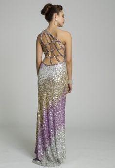 Prom Dresses - All Over Sequin One-Shoulder Prom Dress from Camille La Vie and Group USA